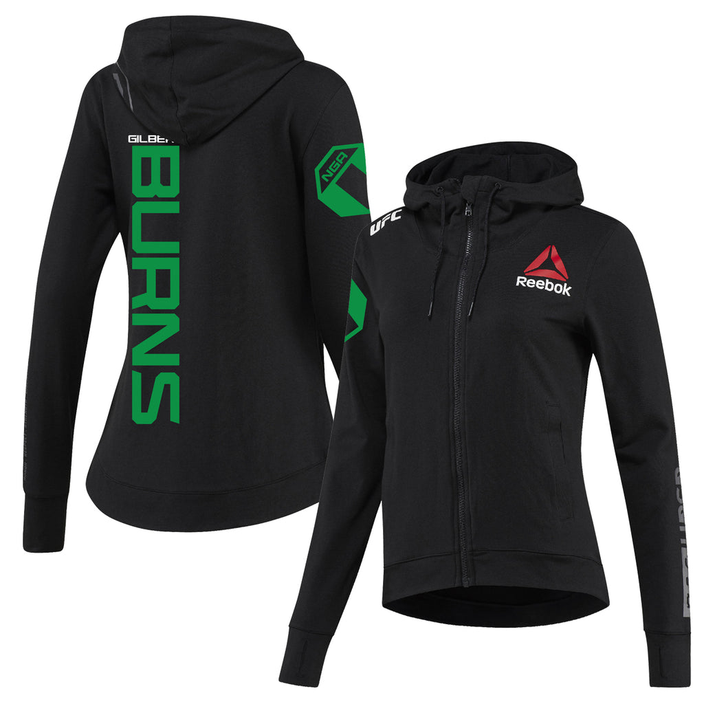 Women's Reebok Gilbert Burns Black UFC Fight Night Walkout Hoodie Replica