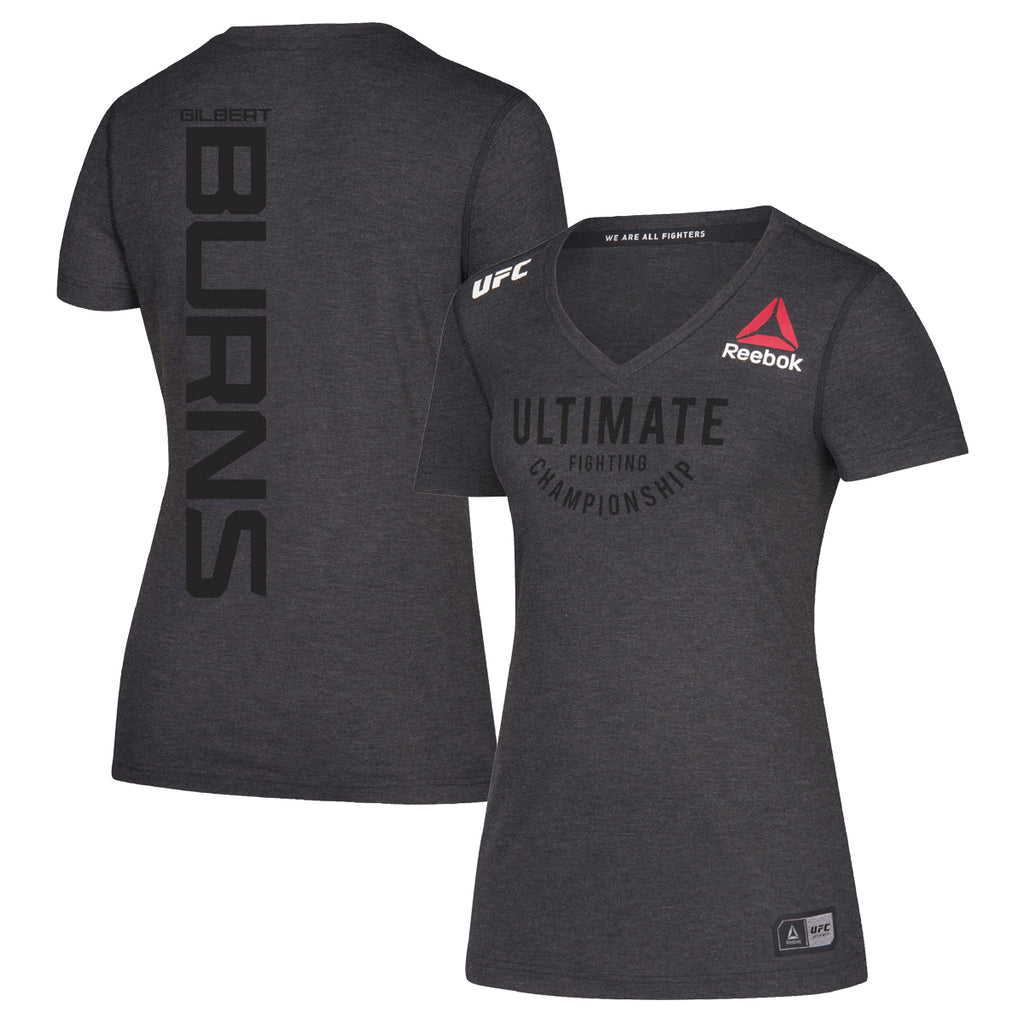 Women's Reebok Gilbert Burns Black Authentic UFC Fight Night Walkout Jersey