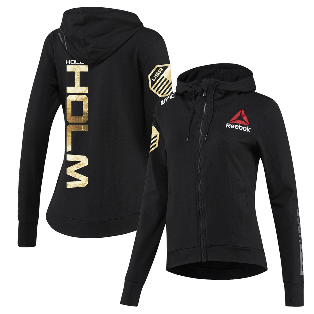 Women's Reebok Holly Holm Champion UFC Fight Night Walkout Hoodie Replica