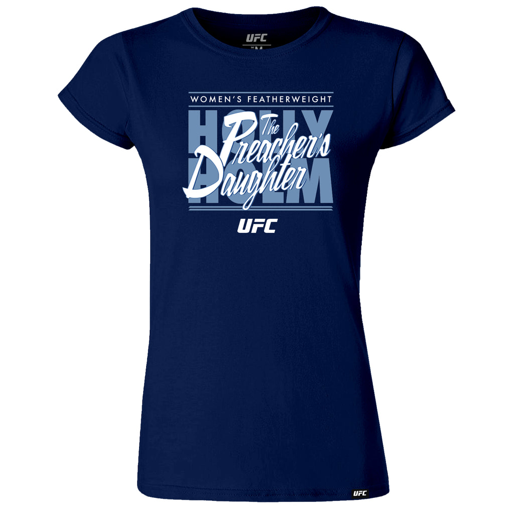 "UFC Holly ""The Preacher's Daughter"" Holm Graphic Women's T-Shirt-Navy"
