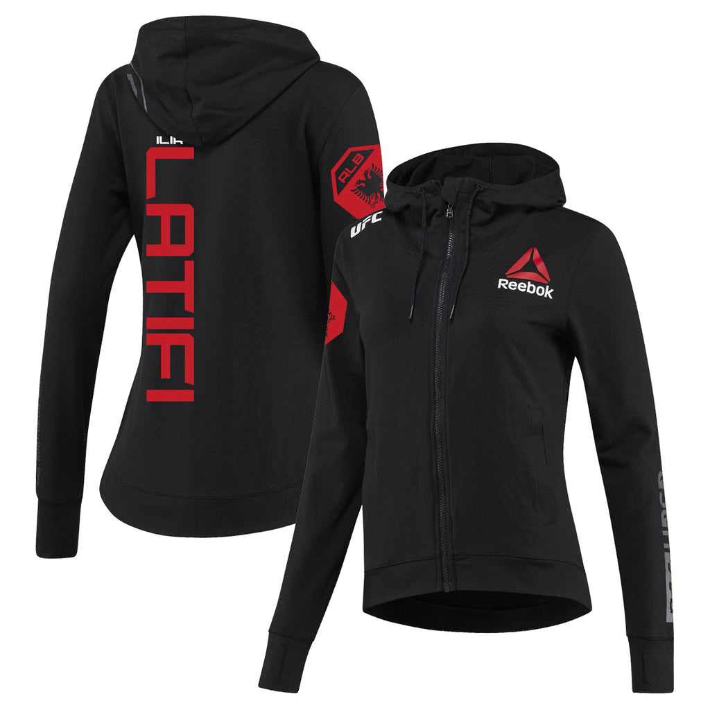Women's Reebok Ilir Latifi Black UFC Fight Night Walkout Hoodie Replica