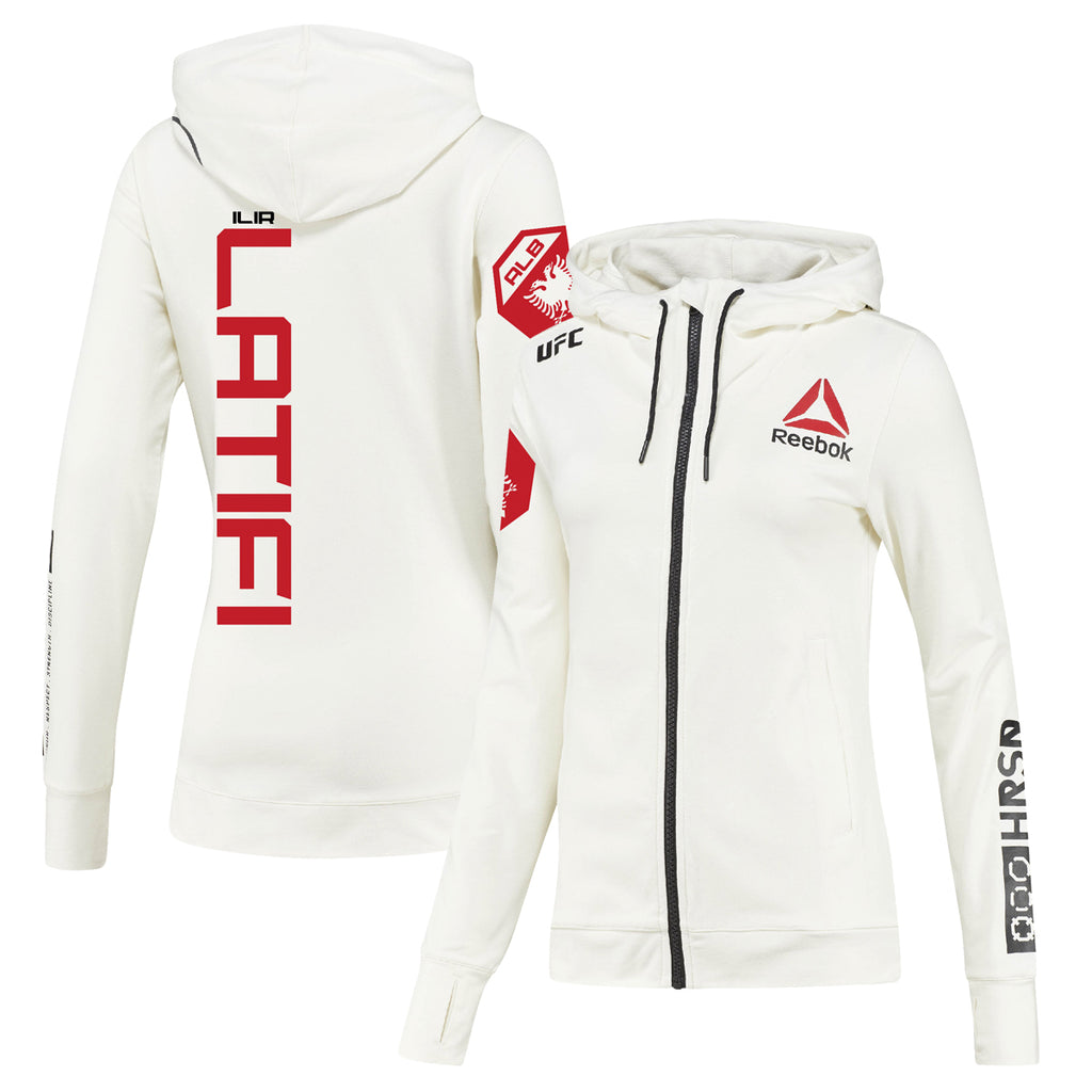 Women's Reebok Ilir Latifi Chalk UFC Fight Night Walkout Hoodie Replica