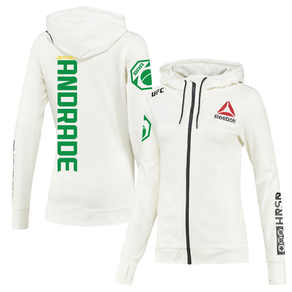 Women's Reebok Jessica Andrade Chalk UFC Fight Night Walkout Hoodie Replica