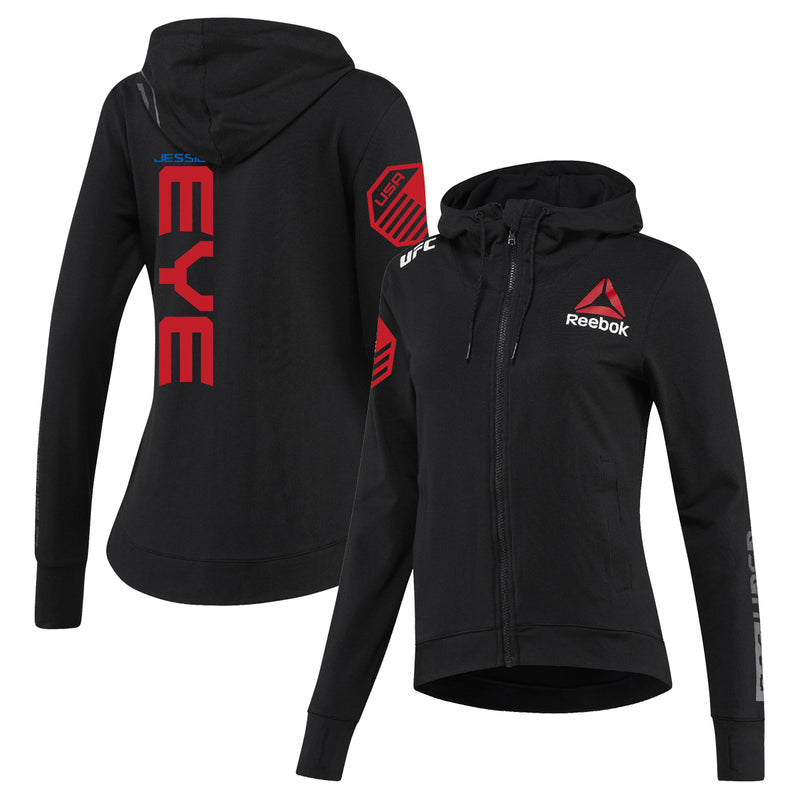 Women's Reebok Jessica Eye Black UFC Fight Night Walkout Hoodie Replica