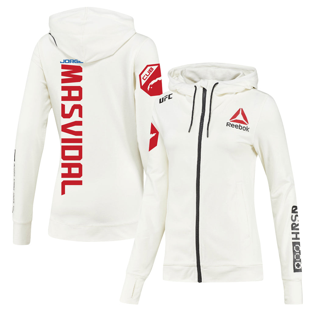 Women's Reebok Jorge Masvidal Chalk UFC Fight Night Walkout Hoodie Replica