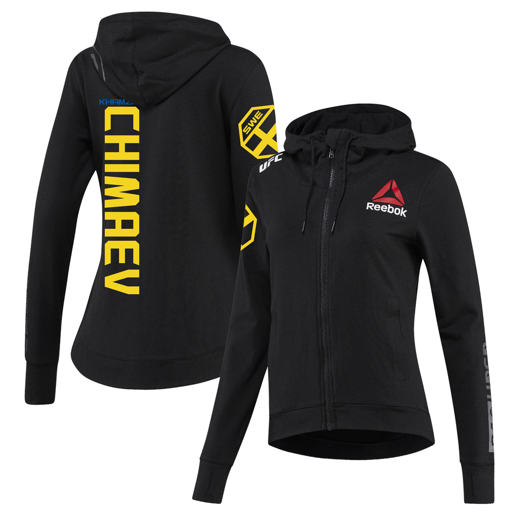 Women's Reebok Khamzat Chimaev Black UFC Fight Night Walkout Hoodie Replica