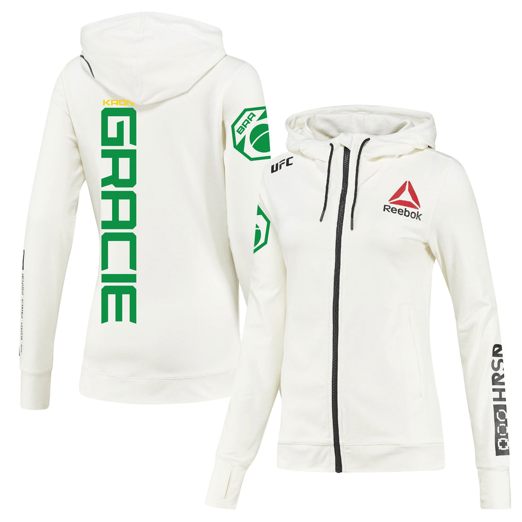 Women's Reebok Kron Gracie Chalk UFC Fight Night Walkout Hoodie Replica