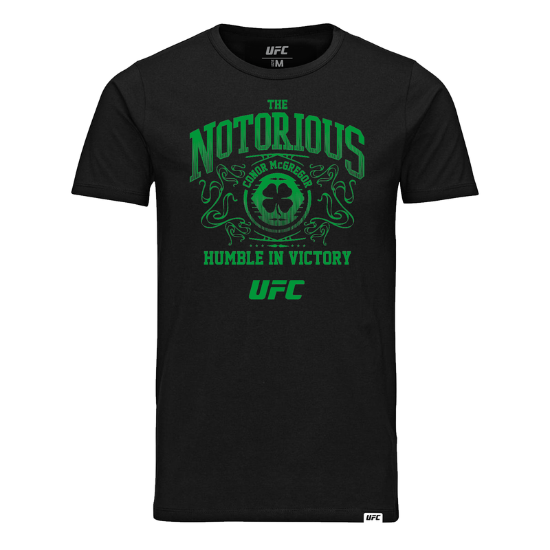 Conor McGregor Humble in Victory Green Print T-Shirt - Black