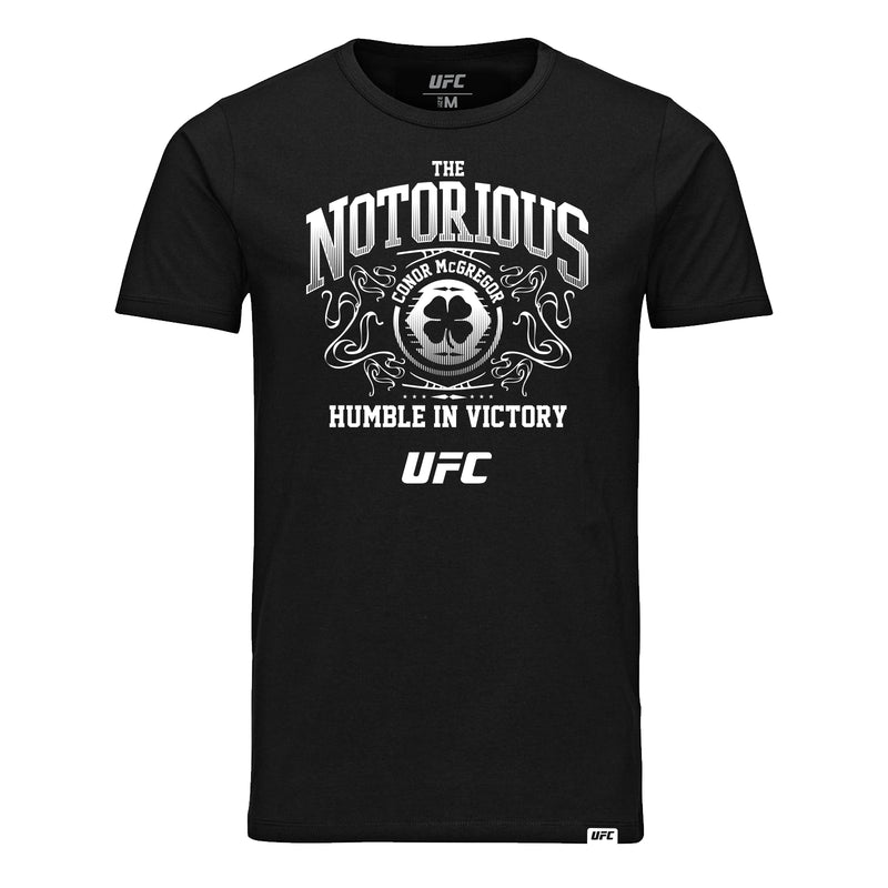 Conor McGregor Humble in Victory White Print T-Shirt - Black