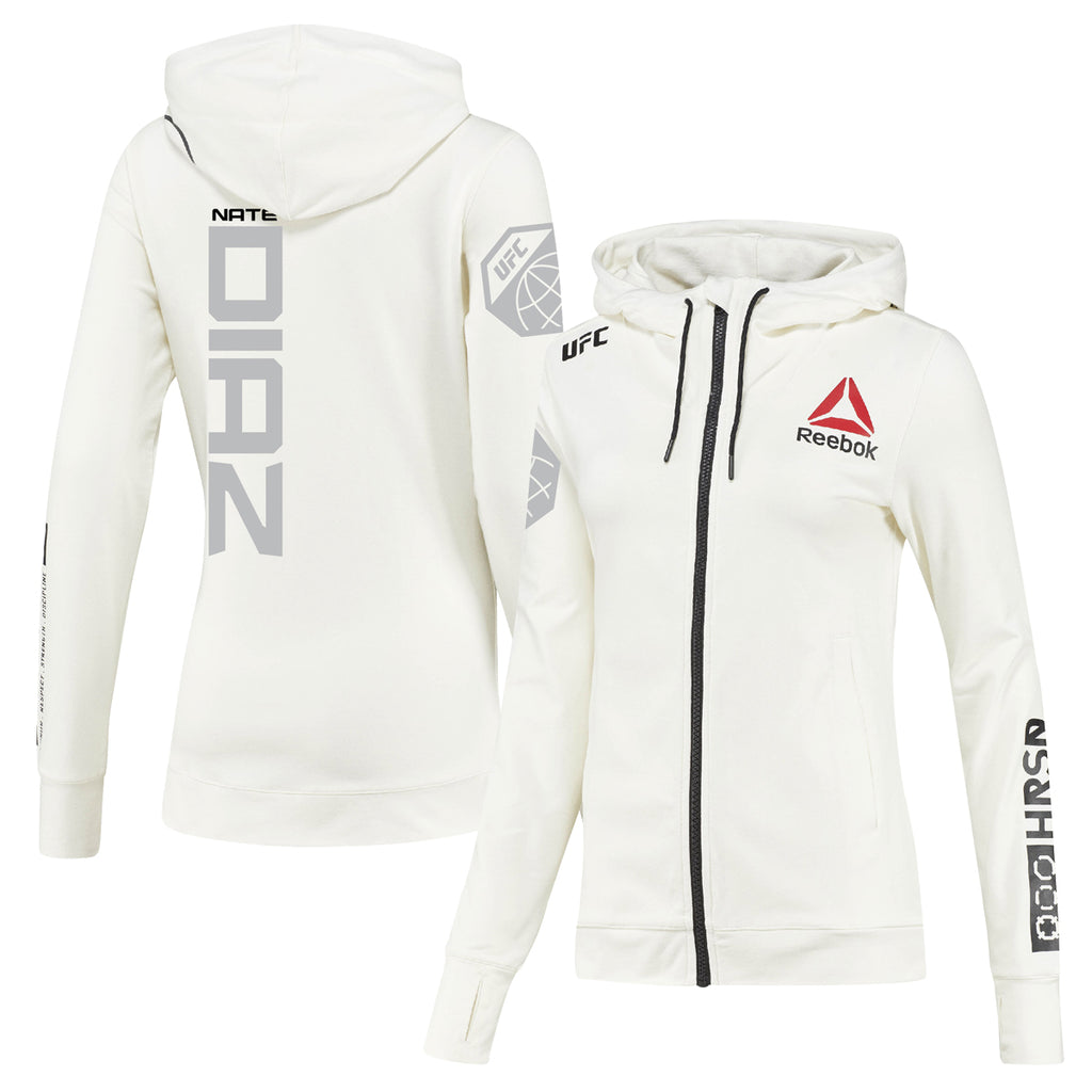 Women's Reebok Nate Diaz Chalk UFC Fight Night Walkout Hoodie Replica
