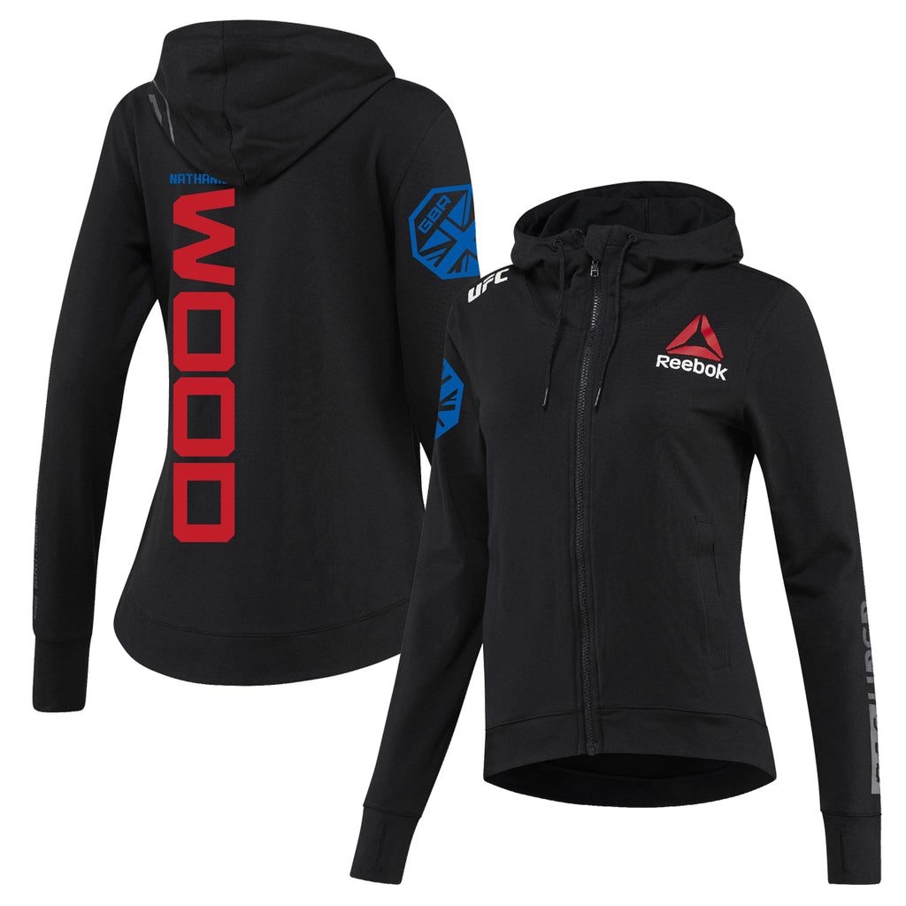 Women's Reebok Nathaniel Wood Black UFC Fight Night Walkout Hoodie Replica