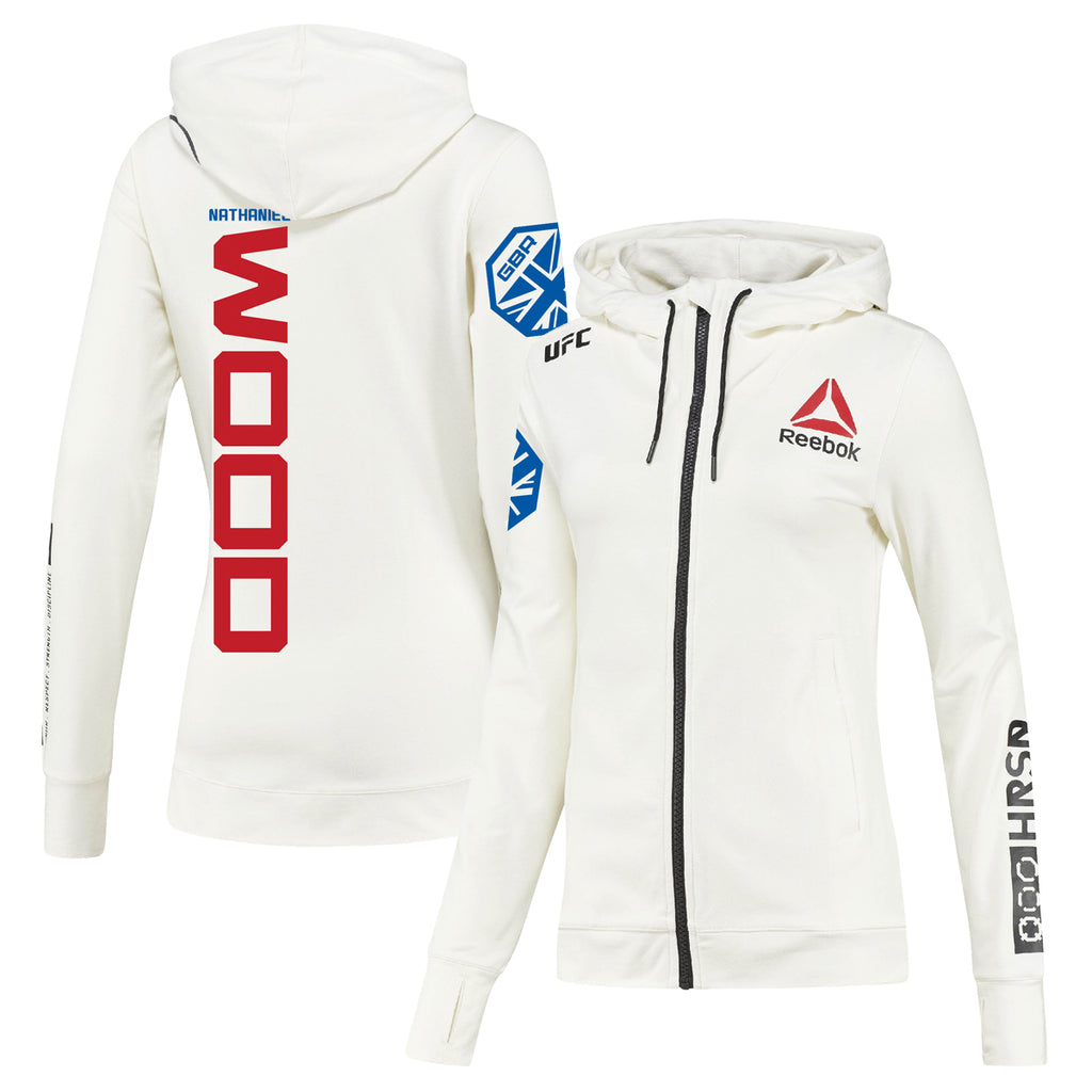 Women's Reebok Nathaniel Wood Chalk UFC Fight Night Walkout Hoodie Replica