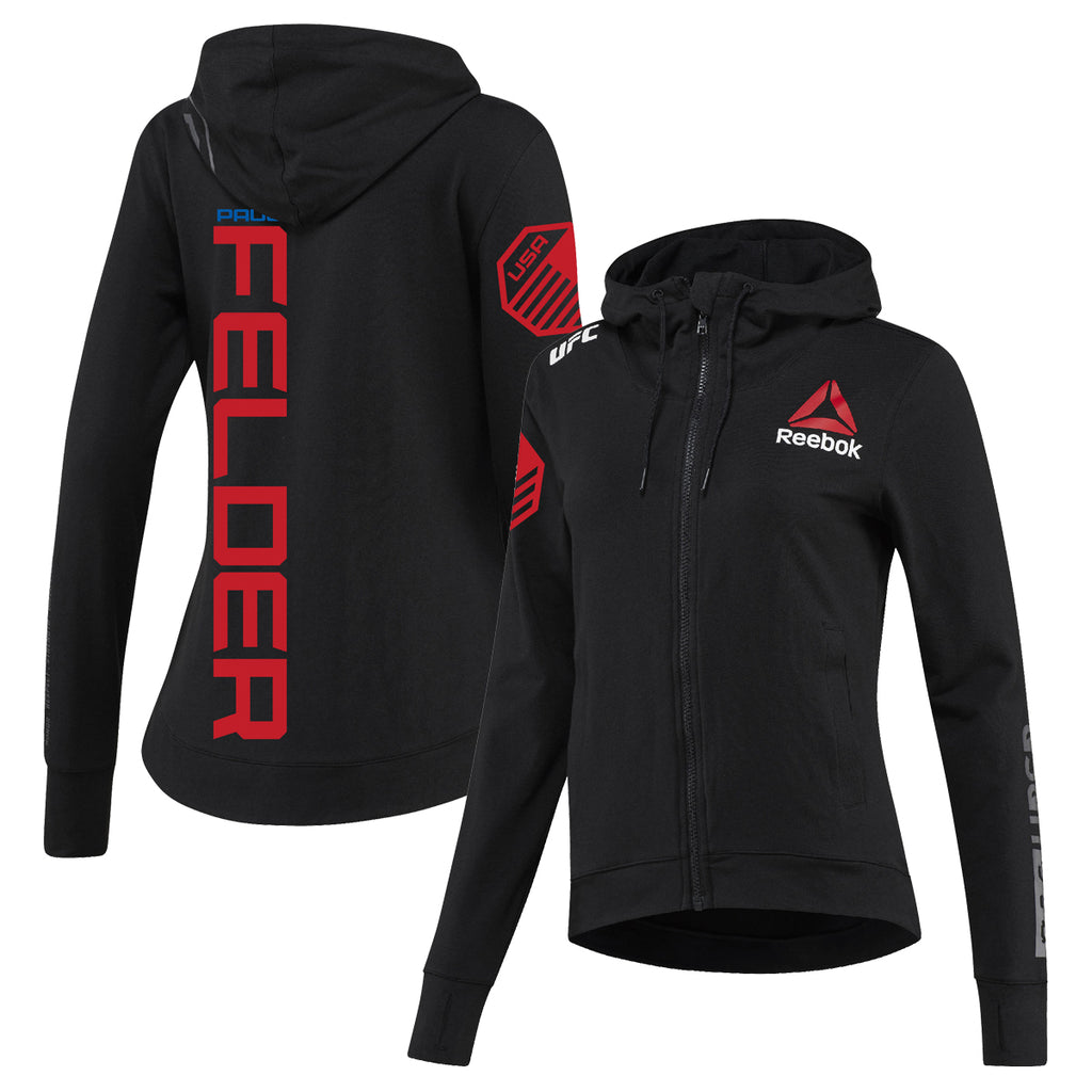 Women's Reebok Paul Felder Black UFC Fight Night Walkout Hoodie Replica