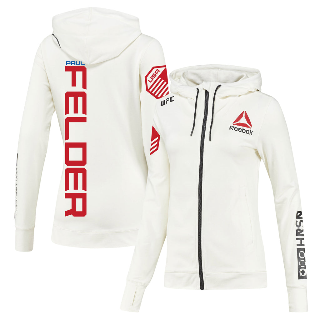 Women's Reebok Paul Felder Chalk UFC Fight Night Walkout Hoodie Replica