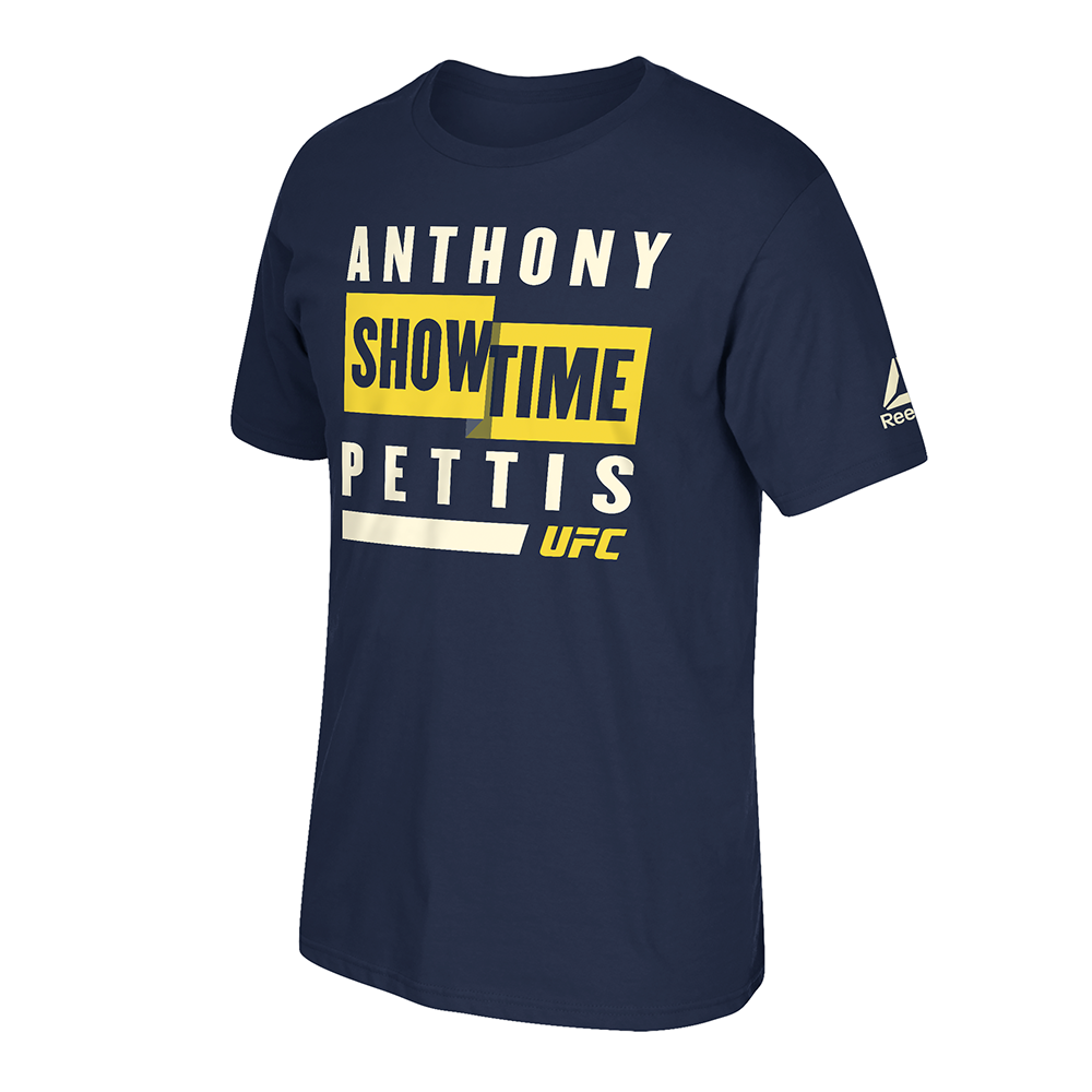 "Men's Reebok Anthony ""Showtime"" Pettis Big Lights Graphic T-Shirt -Navy"