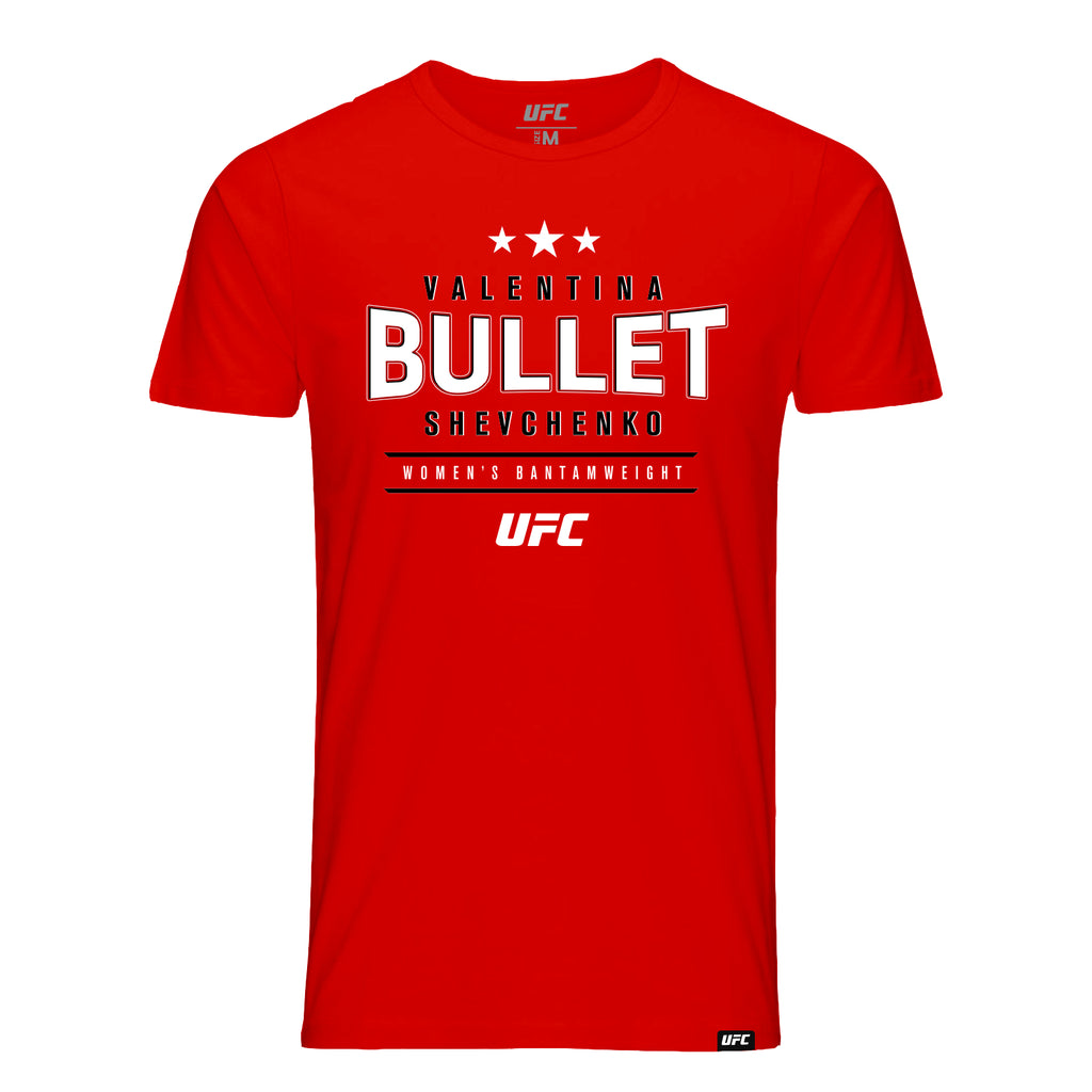 "UFC Valentina ""Bullet"" Shevchenko Graphic T-Shirt-Red"