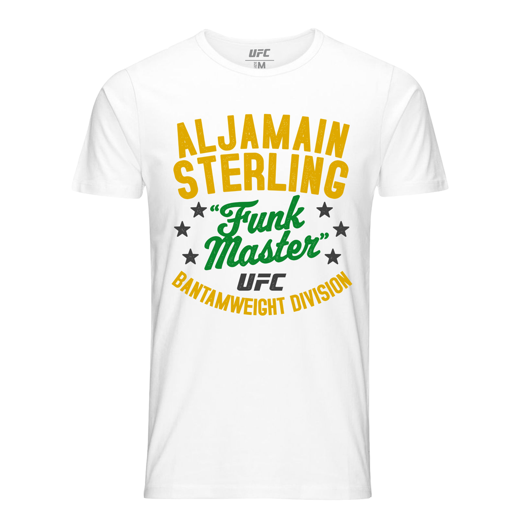 "Men's UFC Aljamain ""Funk Master"" Sterling Vintage T-Shirt - White"