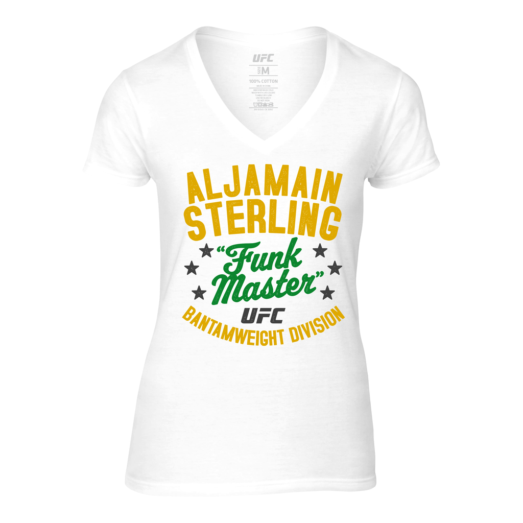 "Women's UFC Aljamain ""Funk Master"" Sterling Vintage V-Neck Tee - White"