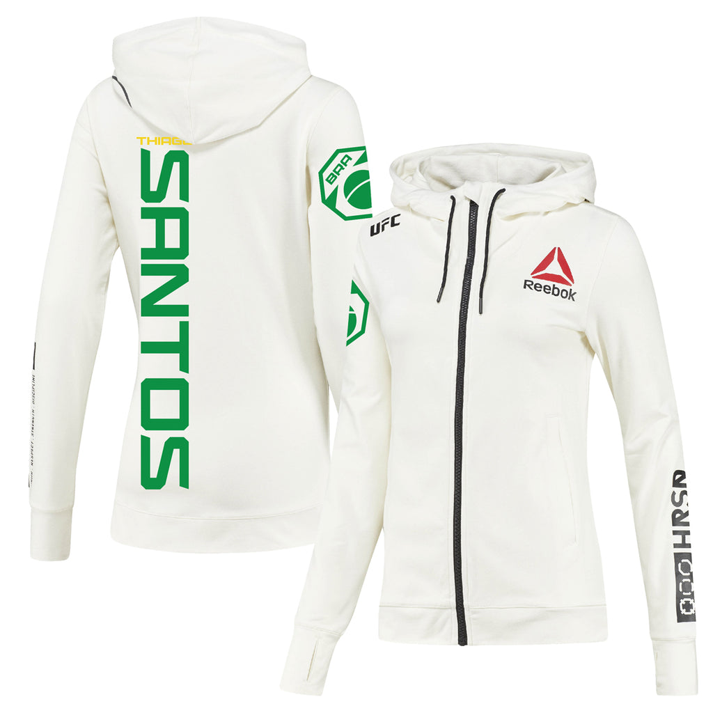 Women's Reebok Thiago Santos Chalk UFC Fight Night Walkout Hoodie Replica