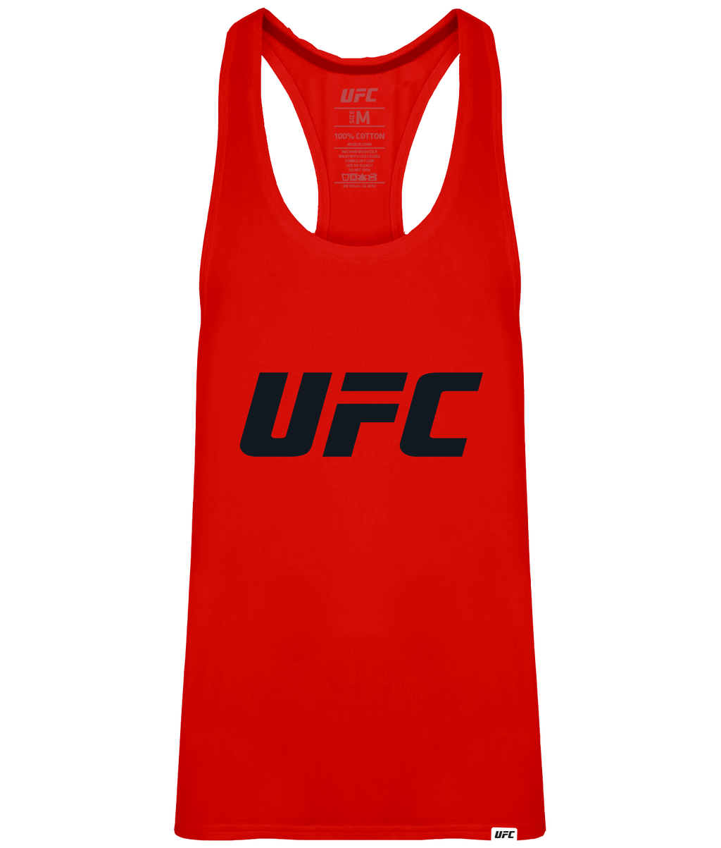 UFC Men's Gym Vest Red Logo-Black
