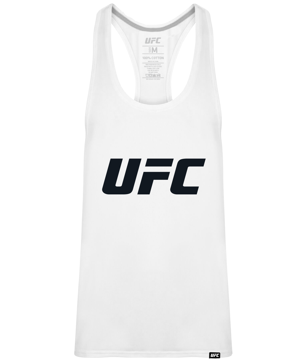 UFC Men's Gym Vest White Logo-Black