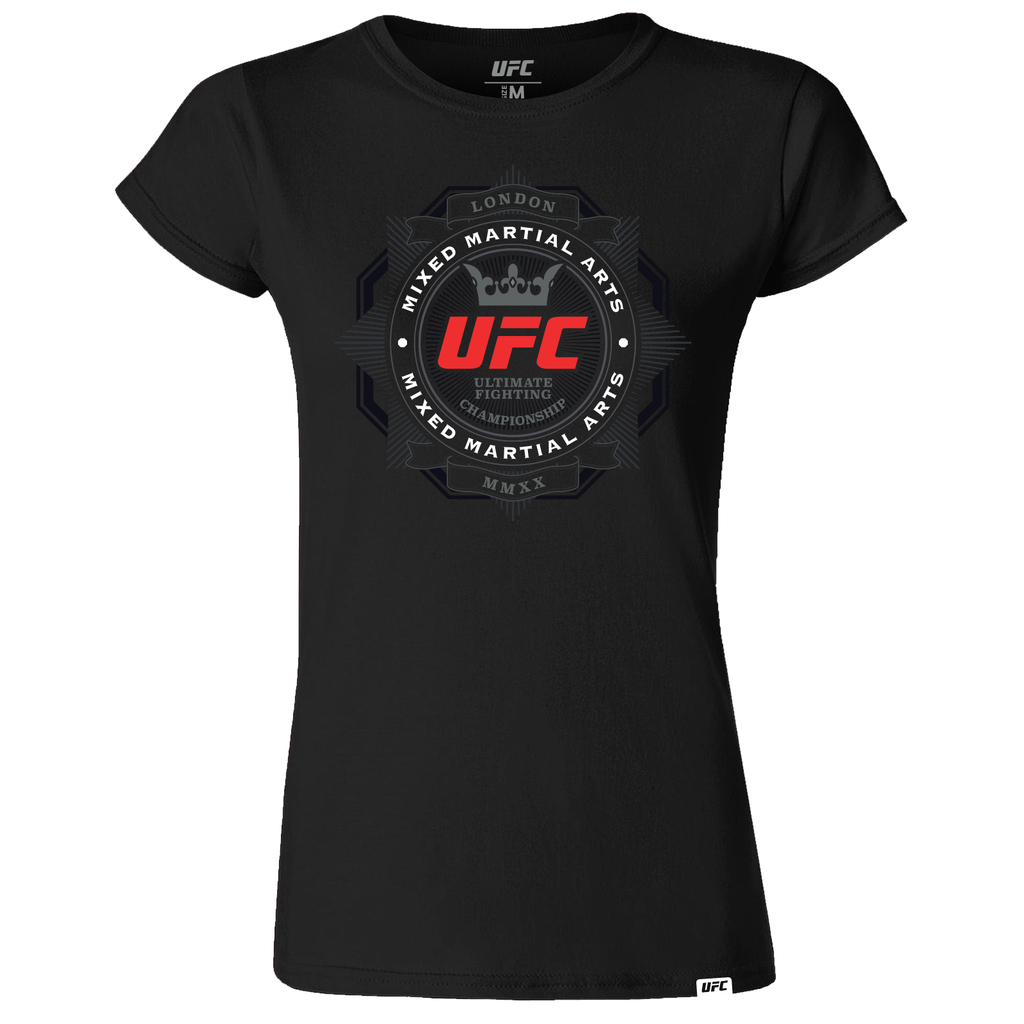 Women's UFC Fight Night London UK of MMA Graphic T-Shirt-Black