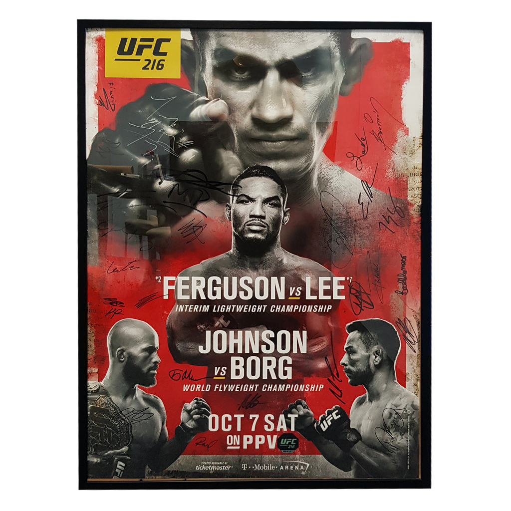 "UFC 216 Ferguson vs. Lee Autographed Signature Fight Poster 27"" x 39"""