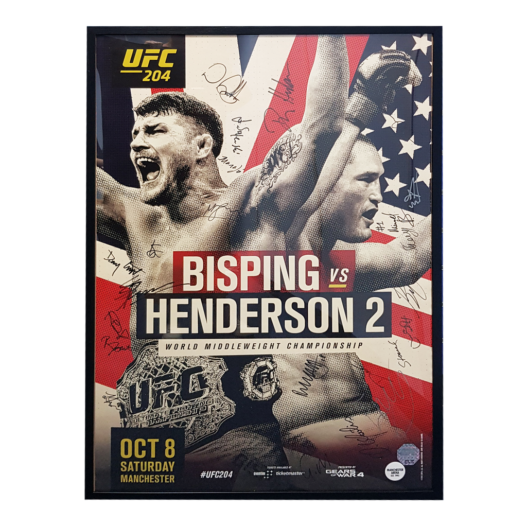 "UFC 204 Bisping vs. Henderson 2 Manchester Autograph Event Posters 27"" x 39"""