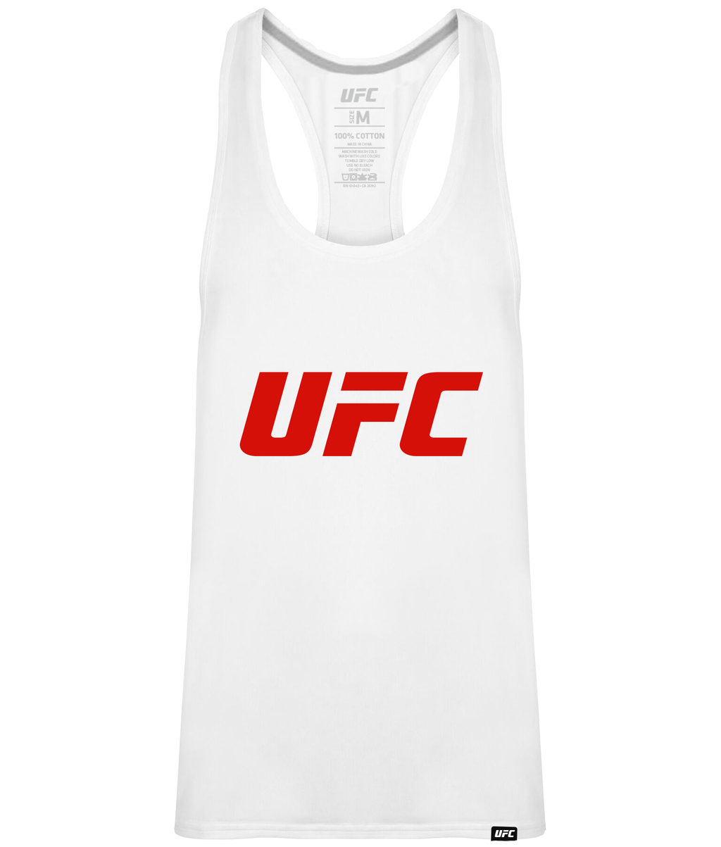 UFC Men's Gym Vest White Logo-Red