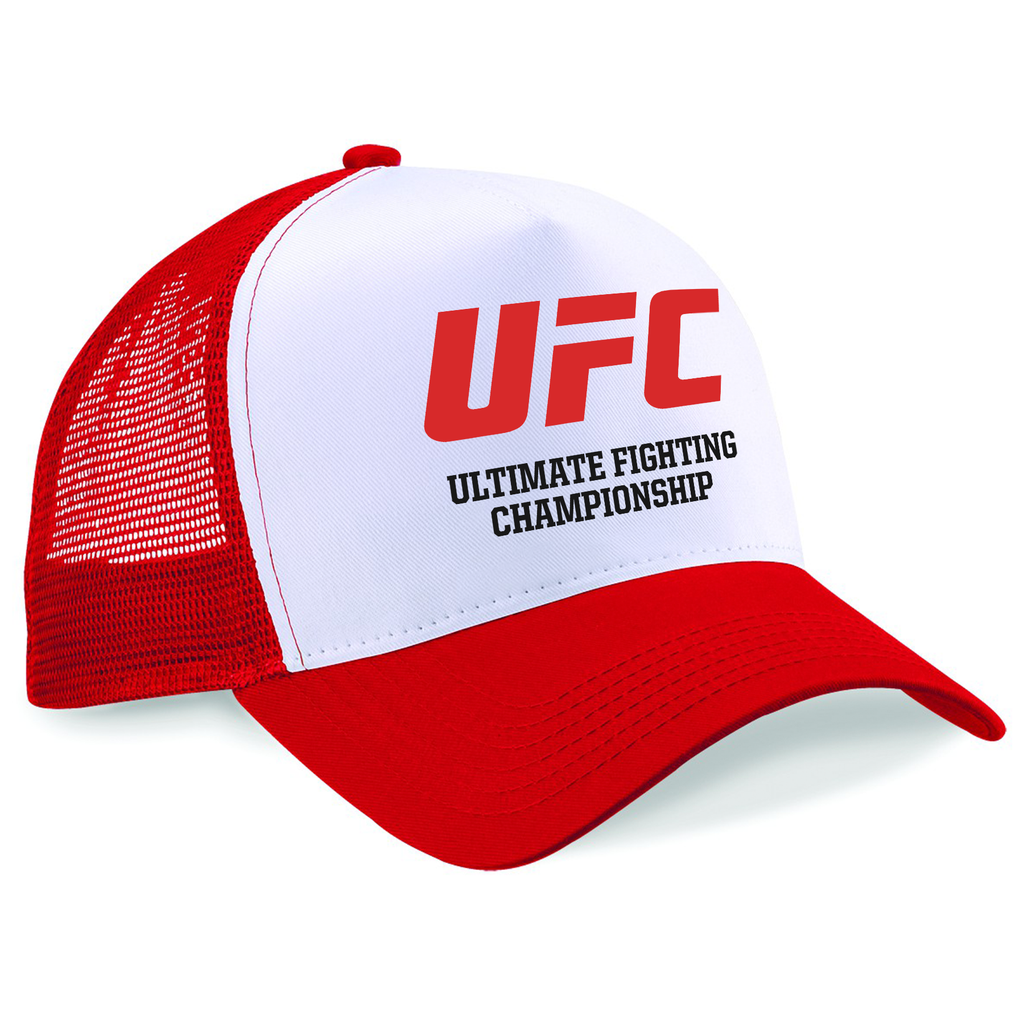 UFC Embroidered Trucker Cap Ultimate Fighting Championship Logo Red