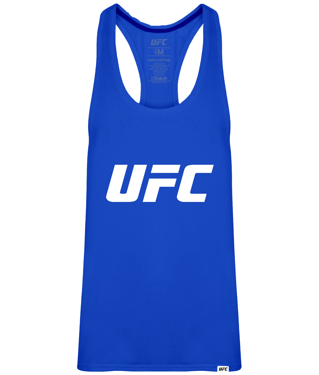 UFC Men's Gym Vest Blue Logo-White