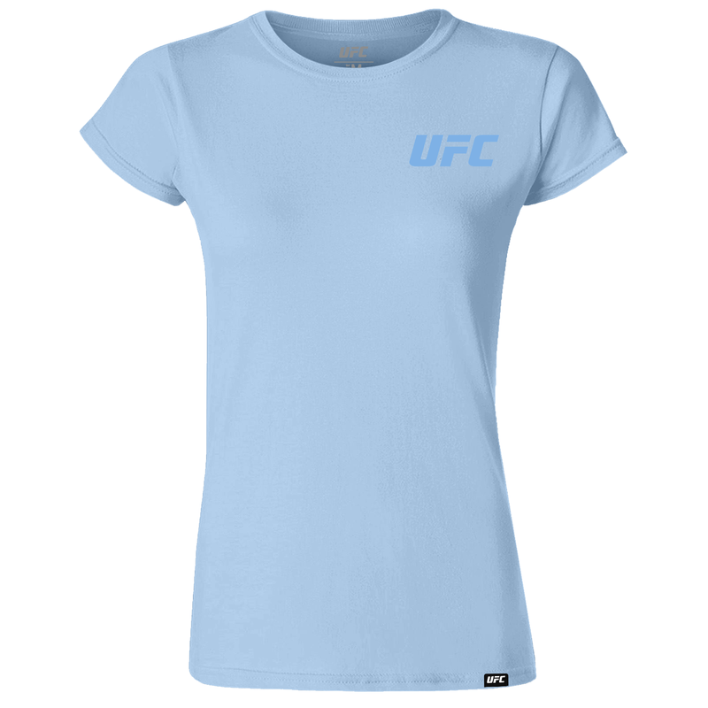 UFC Branded Women's Small Logo T-Shirt-Light Blue