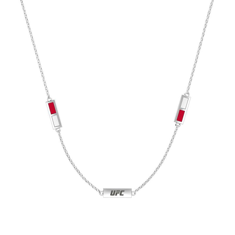 UFC Elements Engraved Red & White Triple Station Necklace in Sterling Silver  One Size