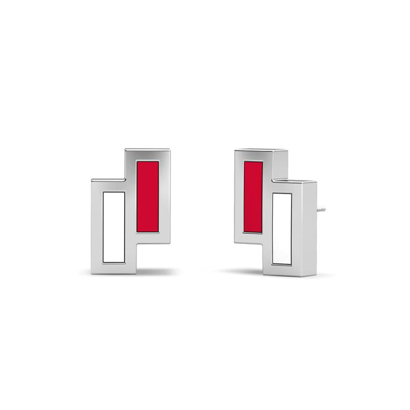 UFC Elements Asymmetric Red & White Enamel Stud Earrings in Sterling Silver  One Size