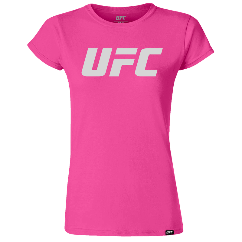 UFC Branded Women's Silhouette Logo T-Shirt-Hot Pink