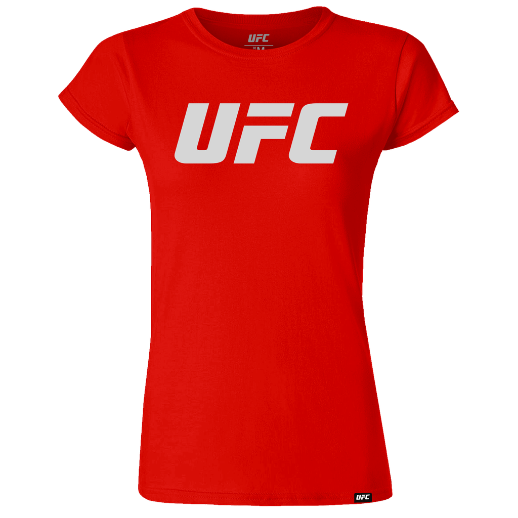 UFC Branded Women's Silhouette Logo T-Shirt-Red
