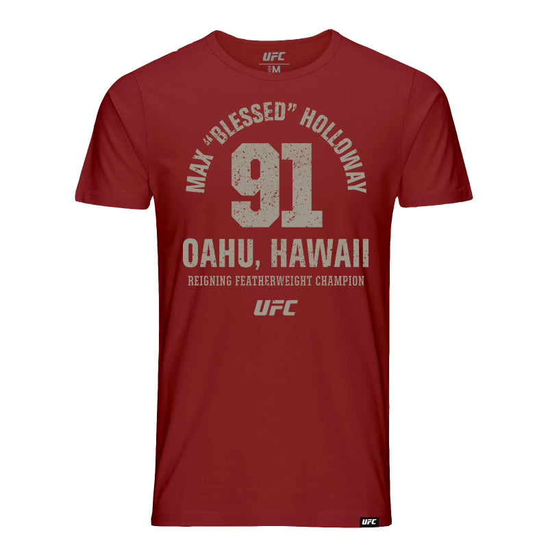"Max ""Blessed"" Holloway Oahu Hawaii 91 T-Shirt -Burgundy"