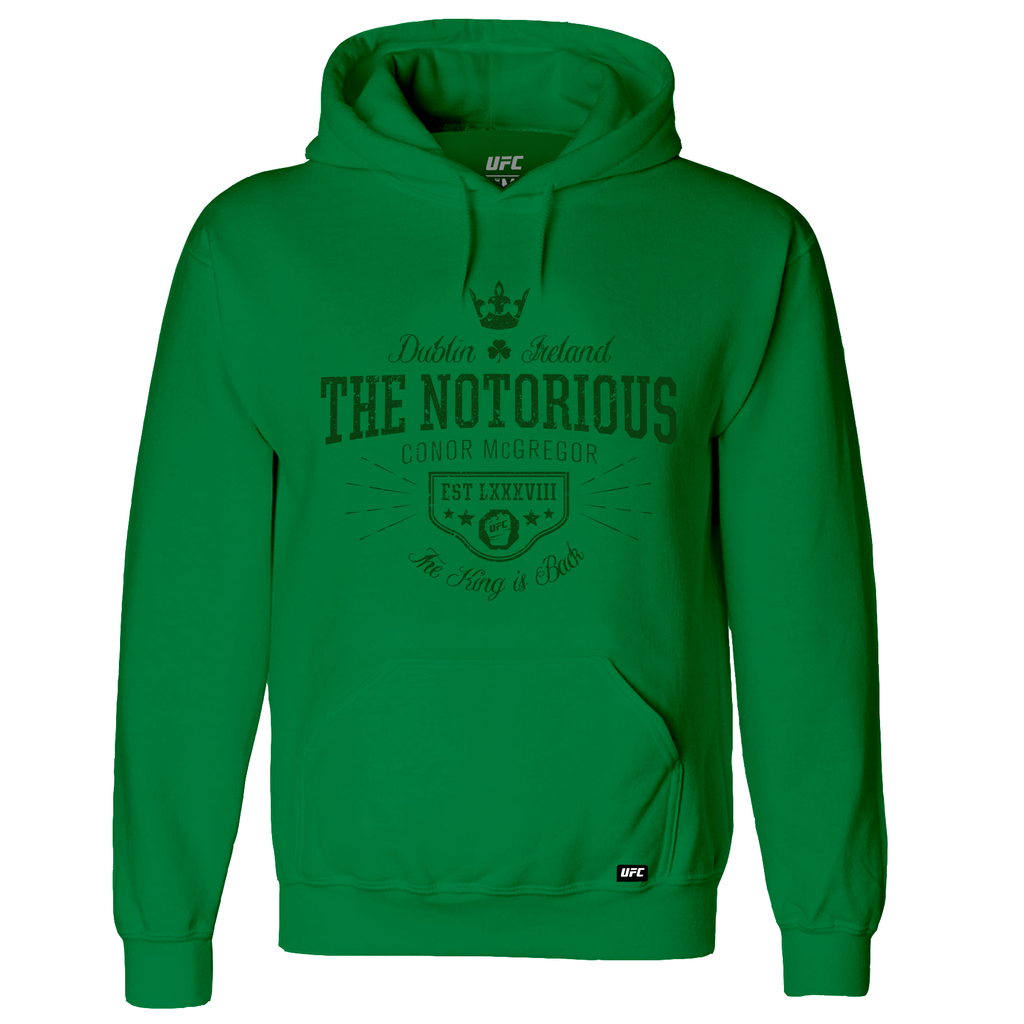 "Men's UFC Conor ""The Notorious"" McGregor The King is Back! Hoodie - Irish Green"