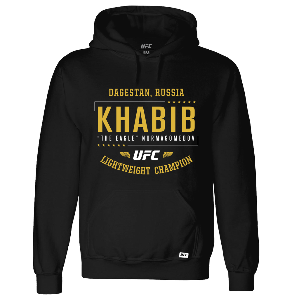 "Khabib ""The Eagle"" Nurmagomedov  Light Heavyweight Champion Hoodie- Black"
