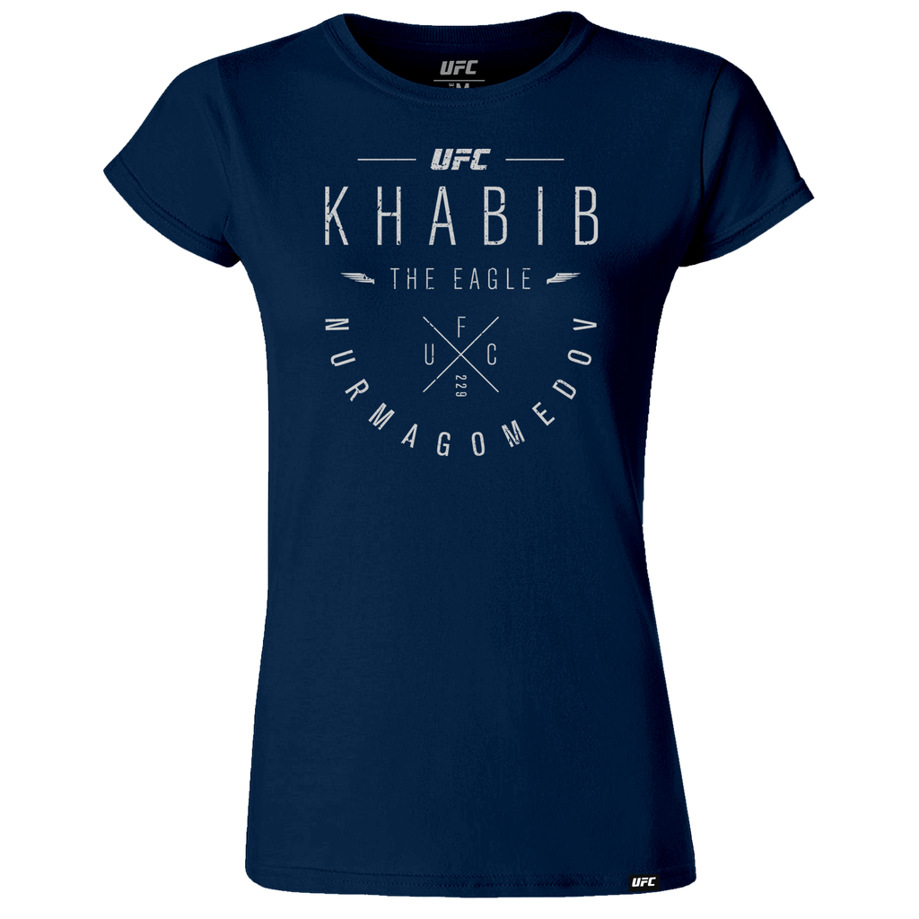 "Khabib ""The Eagle"" Nurmagomedov Script Women's T-Shirt- Navy"