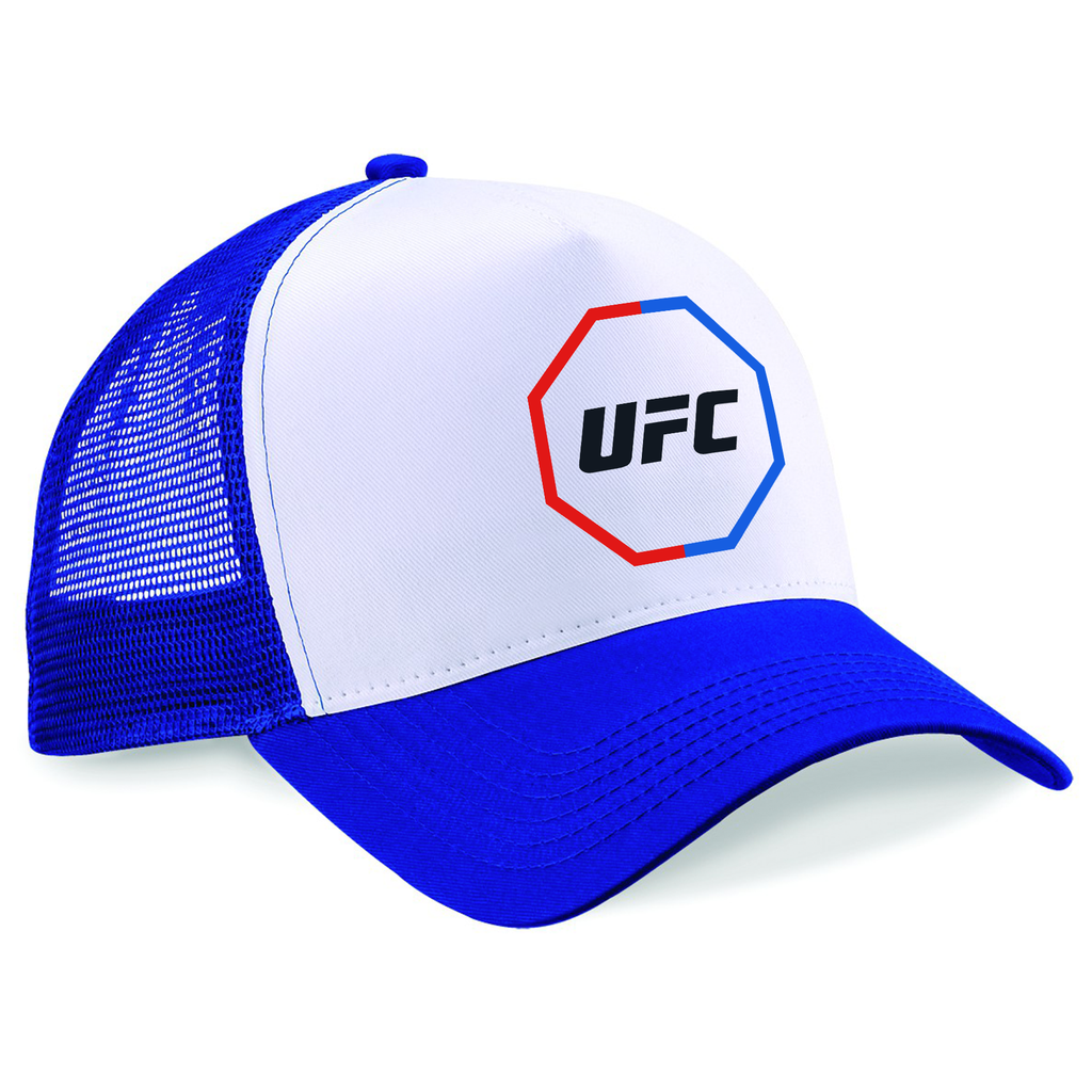 UFC Printed Trucker Cap UFC Fighting Out Of The Red & Blue Corner Octagon Cap