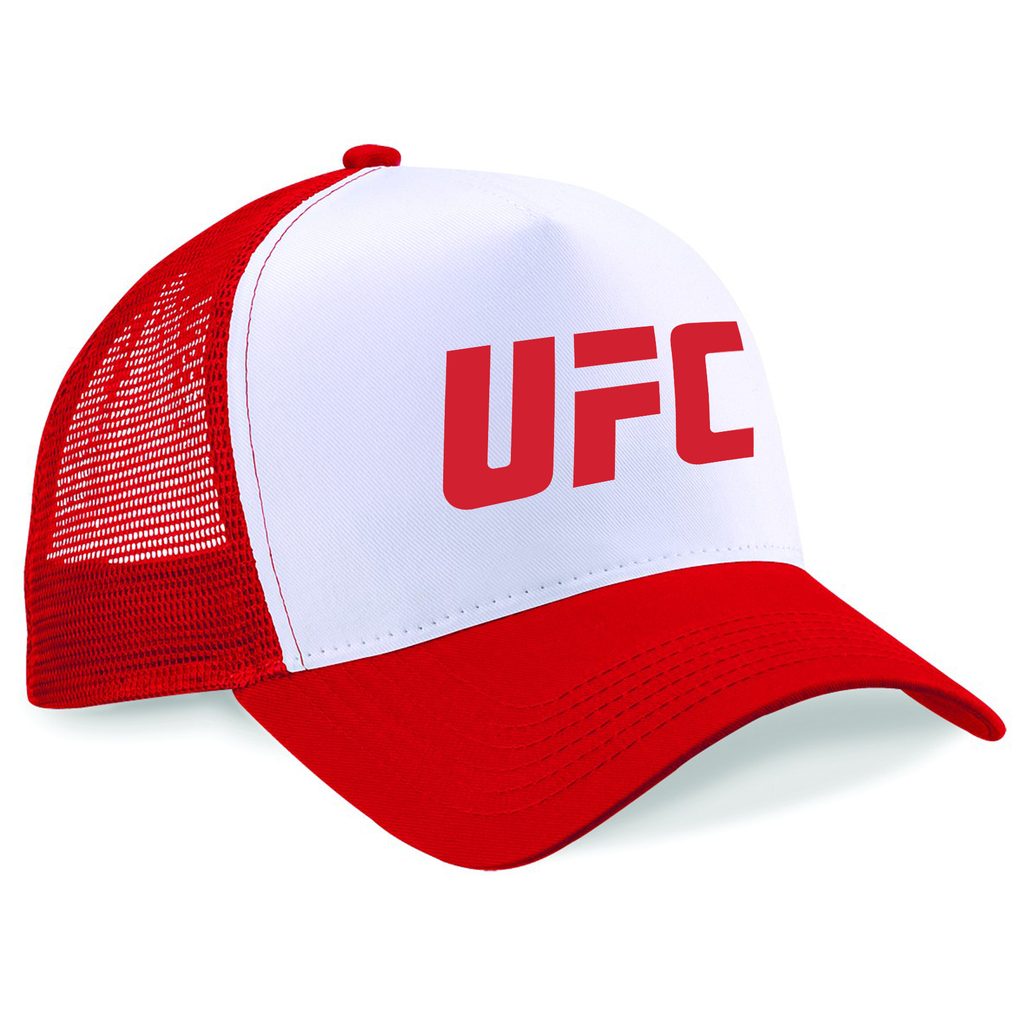 5cb38c04af6 UFC Embroidered Trucker Cap Large Logo Red