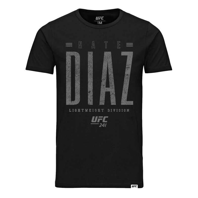 UFC 241 Nate Diaz Distressed Graphic T-Shirt- Black