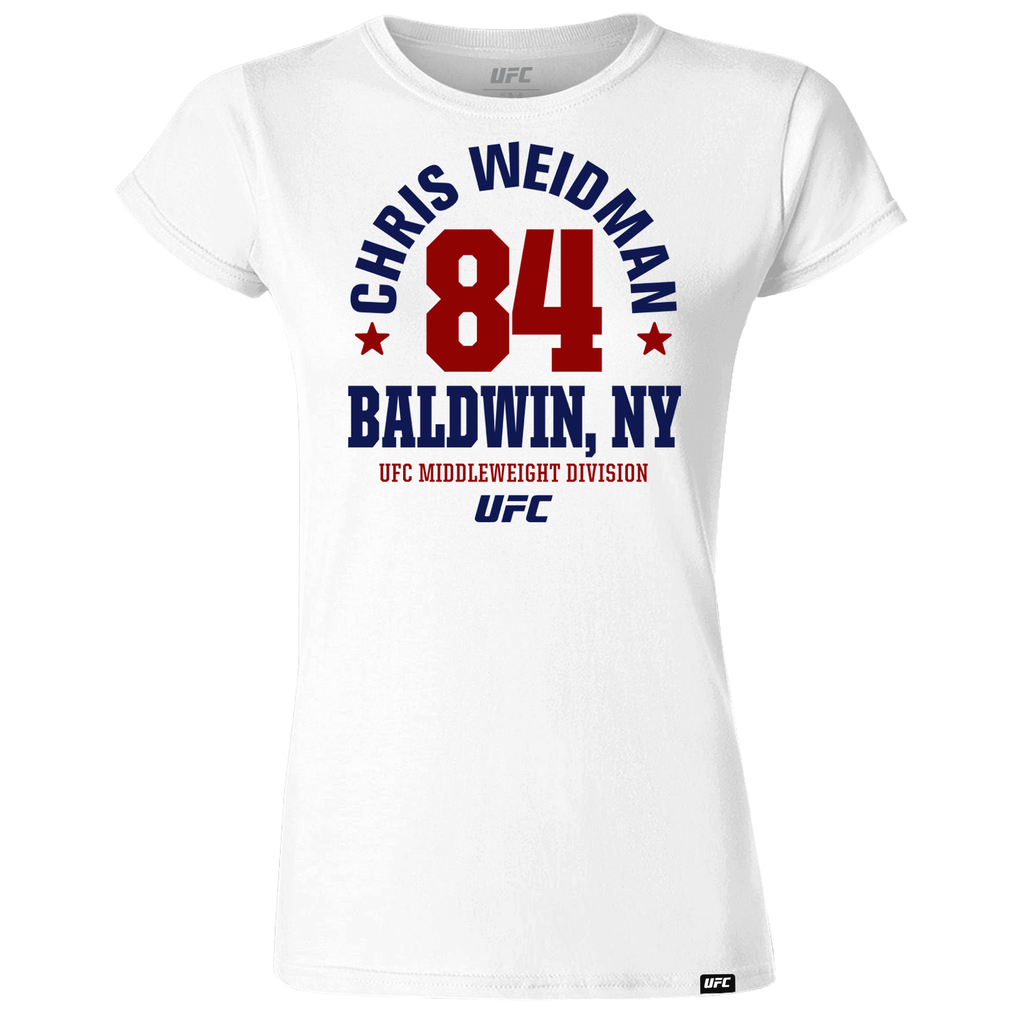 "Chris ""The All-American"" Weidman  Mineola, NY Est 84 Women's T-Shirt- White"