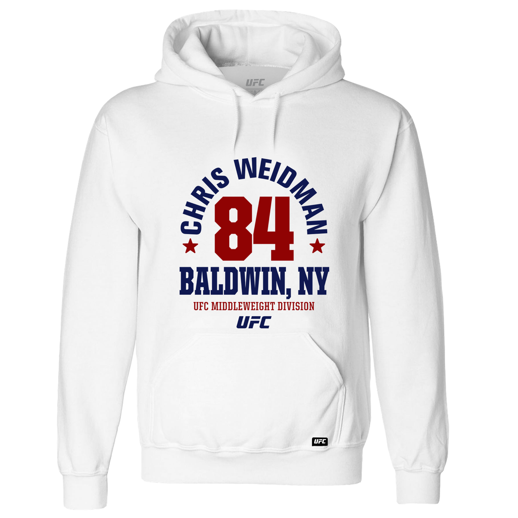 "Chris ""The All-American"" Weidman  Mineola, NY Est 84 Hoodie- White"