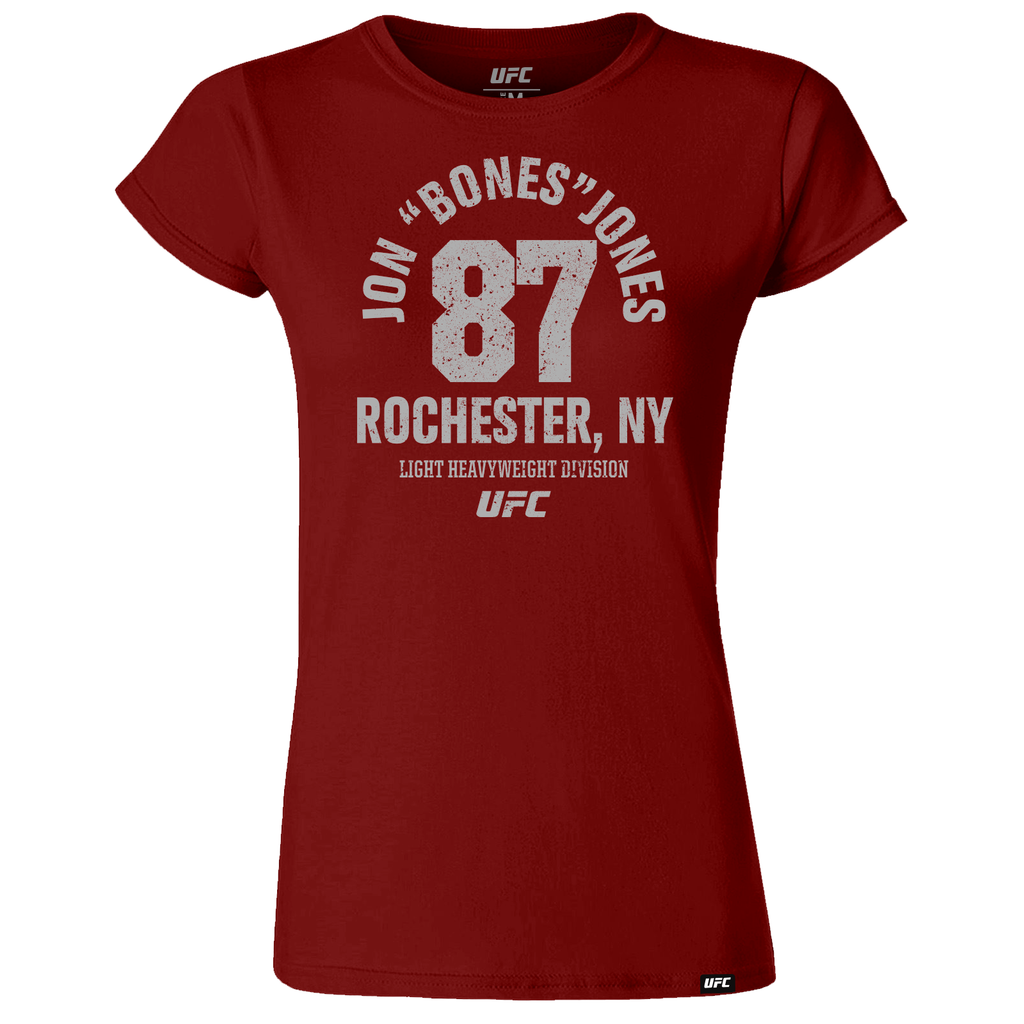 "UFC Jon ""Bones"" Jones Rochester, NY Est 87 Women's T-Shirt-Burgundy"