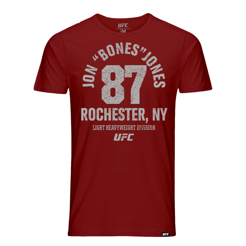 "UFC Jon ""Bones"" Jones Rochester, NY Est 87 Kid's T-Shirt-Burgundy"