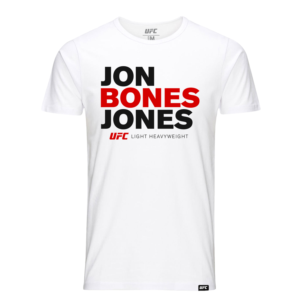 "Jon ""Bones"" Jones Stacked T-Shirt- White"