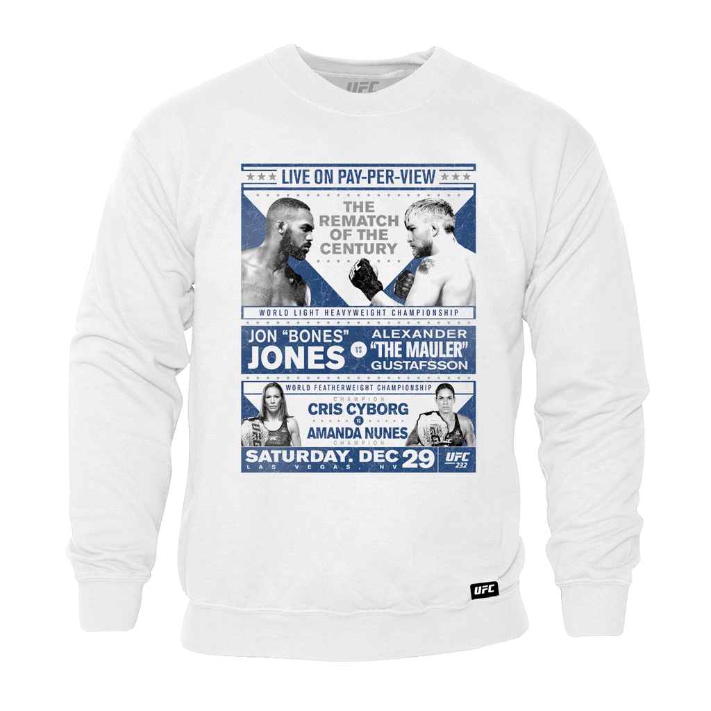 UFC 232 Jones vs Gustafsson Match Up Hoodie-White