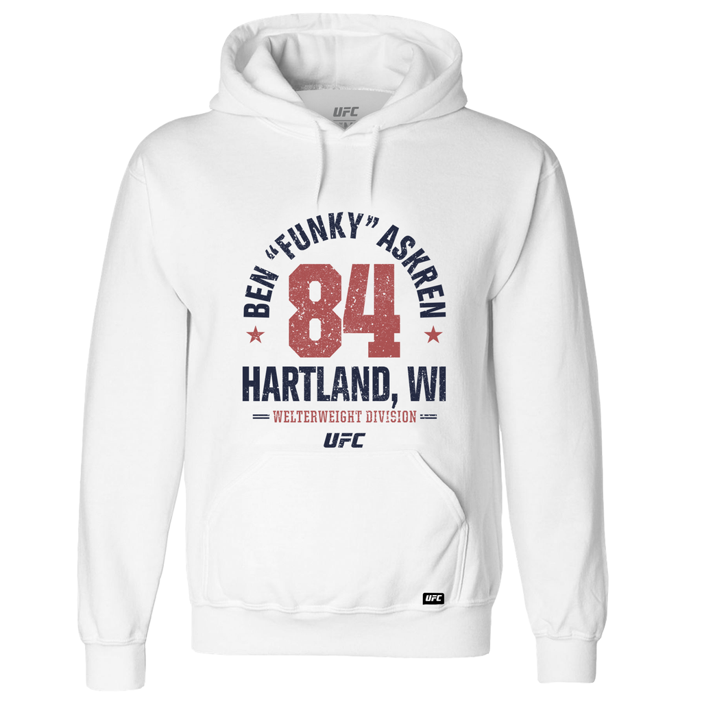 "Men's Ben""Funky"" Askren Hartland, WI Established 84 UFC Hoodie- White"